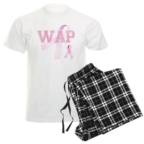 WAP initials, Pink Ribbon, Men's Light Pajamas