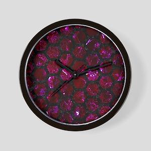 HEXAGON2 BLACK MARBLE & BURGUNDY MARBLE Wall Clock