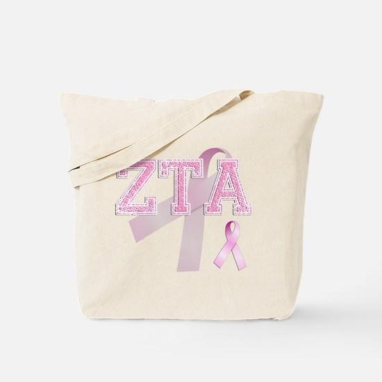 ZTA initials, Pink Ribbon, Tote Bag