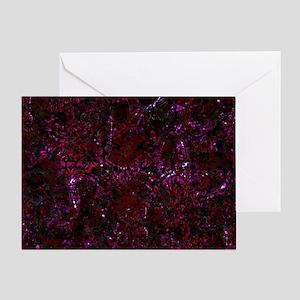 DAMASK2 BLACK MARBLE & BURGUNDY MARB Greeting Card