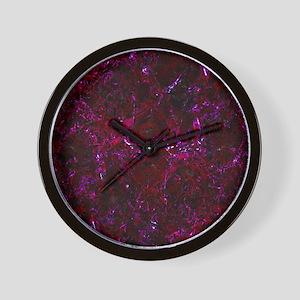DAMASK1 BLACK MARBLE & BURGUNDY MARBLE Wall Clock