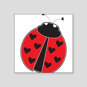 "Lady Bug Square Sticker 3"" x 3"""