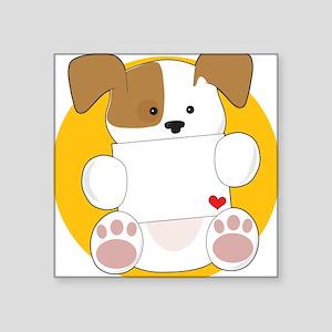 """Cute Puppy Letter Square Sticker 3"""" x 3"""""""