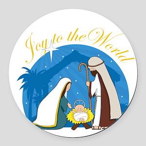 nativity scene cp Round Car Magnet