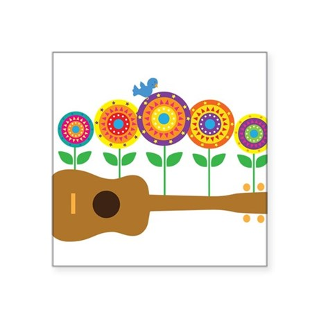"Ukulele Flowers Square Sticker 3"" x 3"""