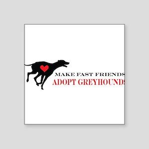 """greyhound friend Square Sticker 3"""" x 3"""""""