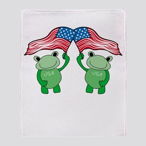 Patriotic Frogs Throw Blanket