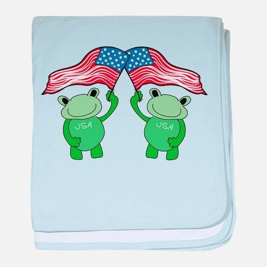 Patriotic Frogs baby blanket
