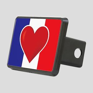 Heart France Flag Rectangular Hitch Cover