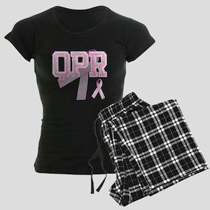 QPR initials, Pink Ribbon, Women's Dark Pajamas