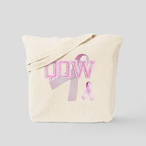 QOW initials, Pink Ribbon, Tote Bag
