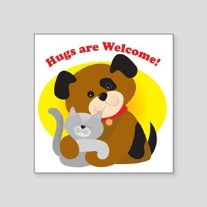 """hugs_welcome Square Sticker 3"""" x 3"""""""