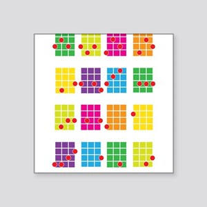 "Uke Chords Colourful Square Sticker 3"" x 3"""