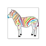 Multicolor Zebra Square Sticker 3