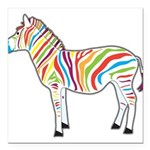 Multicolor Zebra Square Car Magnet 3