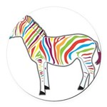Multicolor Zebra Round Car Magnet