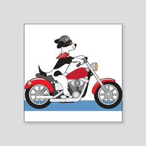 """Dog Motorcycle Square Sticker 3"""" x 3"""""""