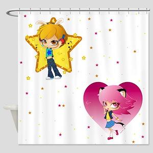 Nyan and Pyon Shower Curtain