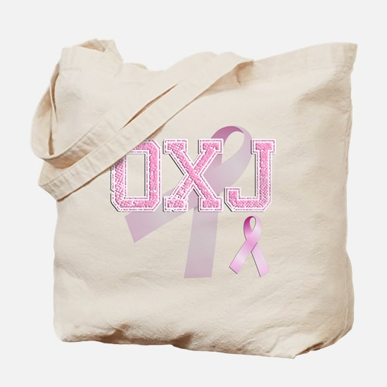 OXJ initials, Pink Ribbon, Tote Bag