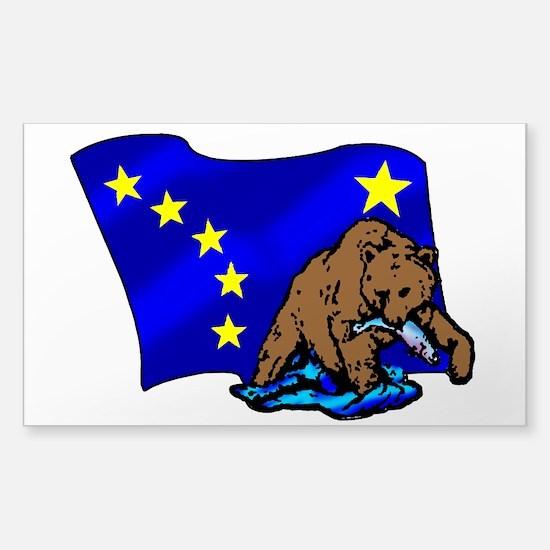 Alaskan Bear Flag Sticker (Rectangle)
