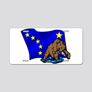 Alaskan Bear Flag Aluminum License Plate