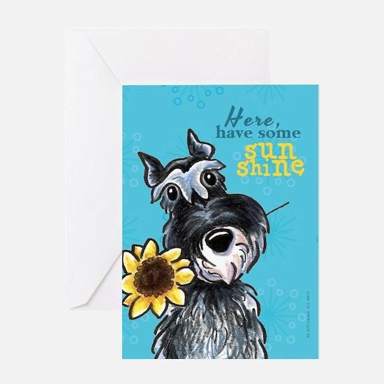 Schnauzer Sunflower Cheer Up Greeting Card
