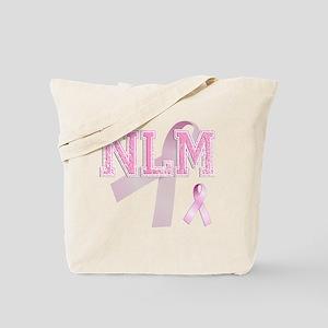NLM initials, Pink Ribbon, Tote Bag