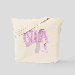 NIA initials, Pink Ribbon, Tote Bag