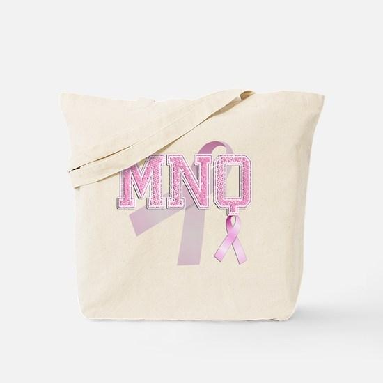 MNQ initials, Pink Ribbon, Tote Bag