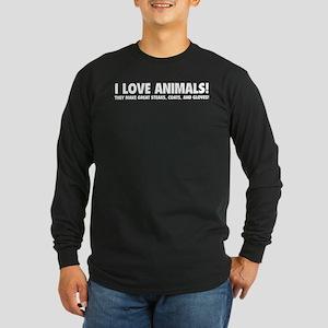 I Love Animals Long Sleeve Dark T-Shirt
