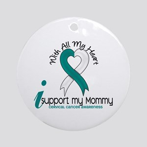 With All My Heart Cervical Cancer Ornament (Round)
