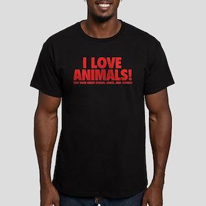 I Love Animals Men's Fitted T-Shirt (dark)