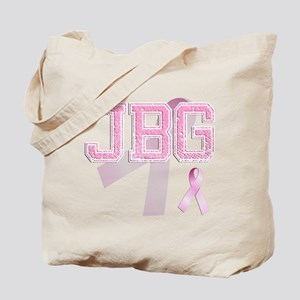 JBG initials, Pink Ribbon, Tote Bag