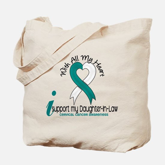 With All My Heart Cervical Cancer Tote Bag