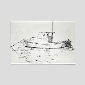Lobster Boat Sketch Rectangle Magnet