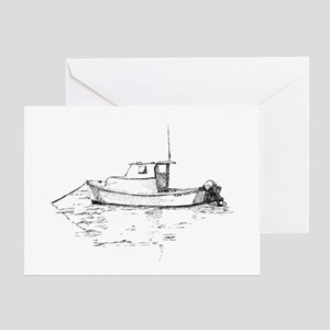 Lobster Boat Sketch Greeting Card