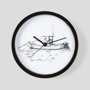 Lobster Boat Sketch Wall Clock