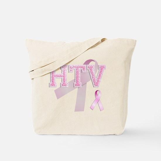 HTV initials, Pink Ribbon, Tote Bag