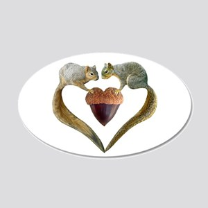 Love Squirrels 20x12 Oval Wall Decal