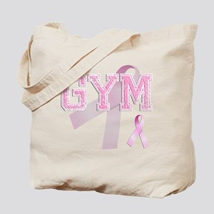 GYM initials, Pink Ribbon, Tote Bag