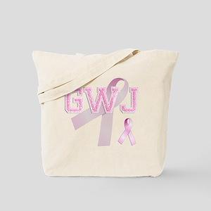 GWJ initials, Pink Ribbon, Tote Bag