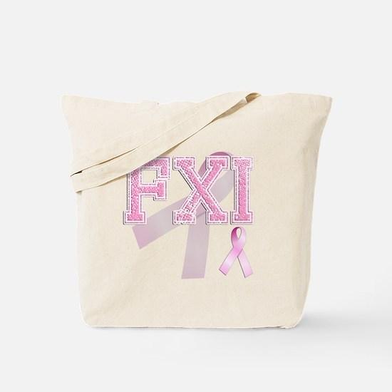 FXI initials, Pink Ribbon, Tote Bag