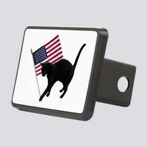 Cat American Flag Rectangular Hitch Cover