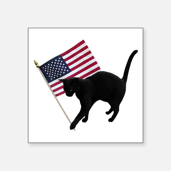 "Cat American Flag Square Sticker 3"" x 3"""
