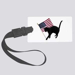 Cat American Flag Large Luggage Tag