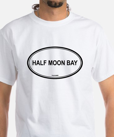 Half Moon Bay oval White T-Shirt