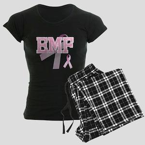 EMF initials, Pink Ribbon, Women's Dark Pajamas