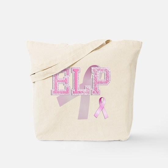 ELP initials, Pink Ribbon, Tote Bag