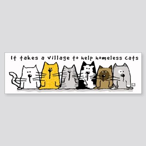 Takes A Village Help Cats Sticker (Bumper)