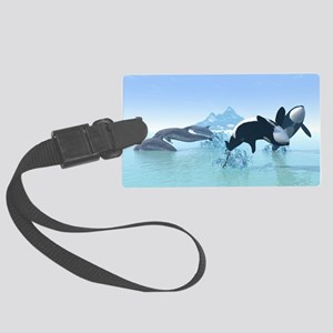 Dolphins and Orca's Large Luggage Tag